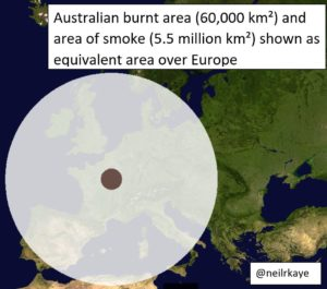 Size of fire in Australia
